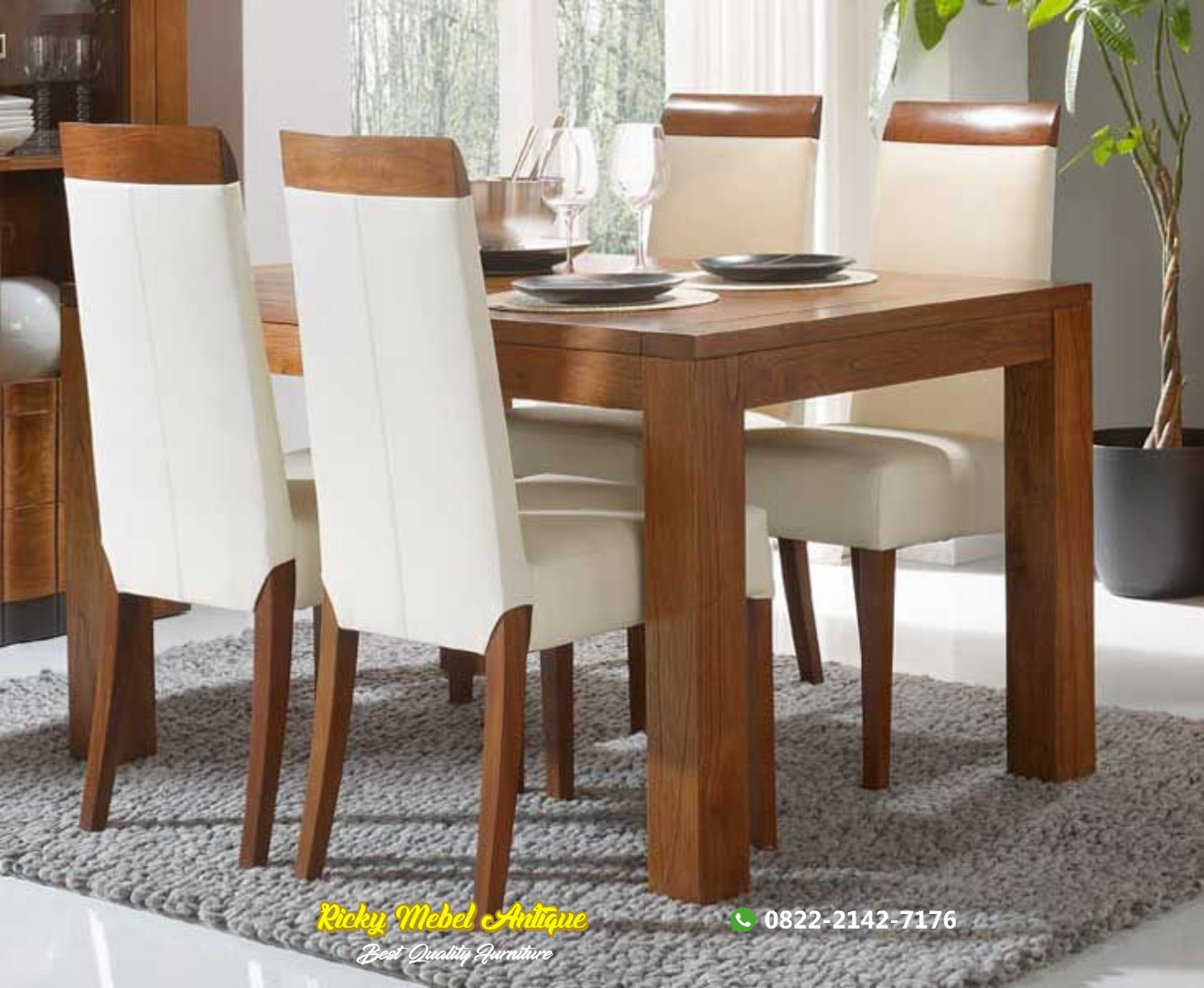 Set meja makan jati minimalis terbaru